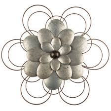 layered galvanized metal flower wall decor