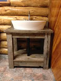 Rustic Sink Ideas Rustic Reclaimed Wood Open Shelf Vanity With White Porcelain