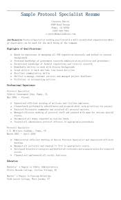 Sample Protocol Specialist Resume Resame Pinterest Homework Diary