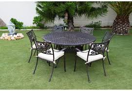 almeria round 6 seater patio set