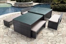 outdoor dining patio furniture. Sanibel 6 Piece Dining Set Outdoor Patio Furniture Wicker Bench Table Glass Modern Design