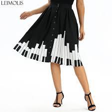 2019 <b>Leimolis</b> Piano Keyboard Print Button Pockets Thin High Waist ...