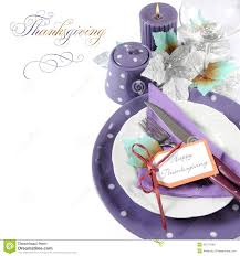 Thanksgiving Purple Theme Table Setting With Sample Text