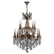 worldwide lighting versailles 18 light antique bronze crystal chandelier