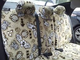 rear custom seat covers for a nissan in hawaiian turtle tan
