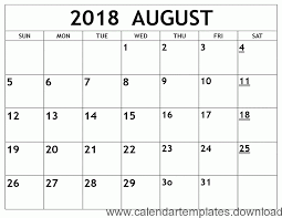 Free Calender Templates Free Printable Calendar Template Printable Calendar August 2018