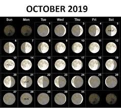 Moon Chart Calendar 2019 Lunar October 2019 Moon Calendar Full New Moon Phases