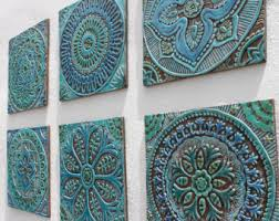 Garden Decorative Tiles Garden decor outdoor wall art and ceramic tiles by GVEGA on Etsy 2