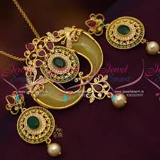 ps7030 one gram traditional double side tiger nail gold design pendant set