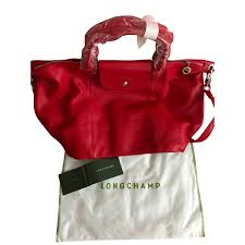 longchamp le pliage cuir leather per red new with tags handbags leather red ref