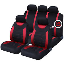 image is loading black red luxury full set car seat covers