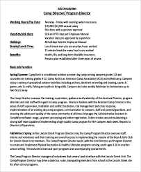 camp program director job description to download service director job description