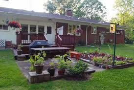 backyard design online. Backyard Garden Deck And Patio House Design With Dark Painted Oak Railings Outdoor Dining Area Online