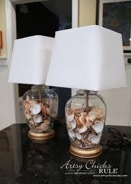 artsy lighting. Thrifty Coastal Lamp Makeover - BIG Savings!! New Shades And Shells Artsychicksrule Artsy Lighting E