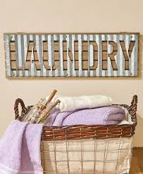 corrugated metal wall signs laundry