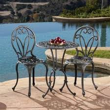 patio furniture 3 pc bistro set outdoor garden modern style round table chairs