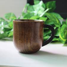 oak wooden coffee cup mugs waist creative kung fu tea cups service vintage handle drinking beer milk tea cups