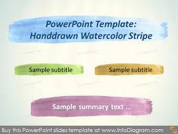 Stripe Templates Watercolor Handdrawn Powerpoint Template Pptx Aquarelle Brush Stripe