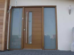 image of contemporary front doors for brick home
