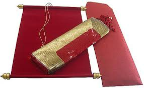 unique wedding invitations, wedding scroll invitations, scroll Red Velvet Wedding Invitations scroll red velvet cloth pouch red and gold sequin yet another beautiful invitation! exquisitely hand crafted by artisans, this beautiful pouch holds Wedding Invitation Templates