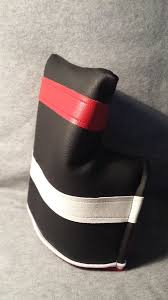 custom made custom mallet putter fore leaf golf head cover black with red and white