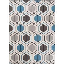 contemporary geometric stripe non slip non skid blue area rug 5 ft