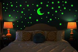 Night Stars Bedroom Lamp Buy Sticker Moon And 69 Star Glow In The Dark Glowing Sticker High