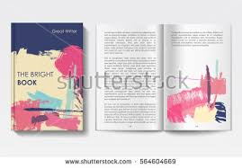 vector modern book cover and pages grunge brush art cover book template painted