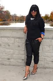 outfit leather joggers