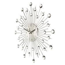 modern metal sunburst wall clock clear diamante crystal beaded jeweled