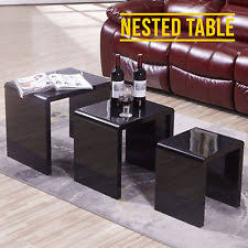 nest of 3 coffee table side end tables high gloss black living room furniture