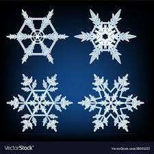 Different Designs Of Snowflakes Four Designs Of Snowflakes On Blue Background