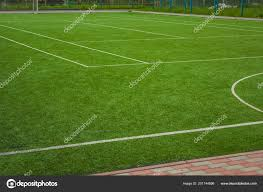 Sport Concept Synthetische Klein Voetbal Veld Groen Gras