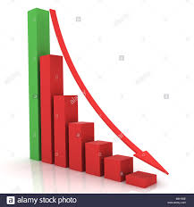Down Arrow Chart Business Bar Chart With Arrow Pointing Down Stock Photo
