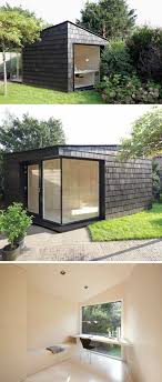 detached home office. This Backyard Shed Was Created As A Multi-functional Space Detached From The Home That Could Be Used Storage For Tools And Bikes, Bright Private Office