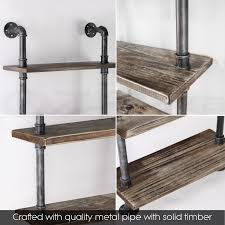 Industrial Bookcase Diy Rustic Industrial Diy Pipe Shelf Storage Vintage Wooden Floating
