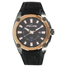 police black round dial leather strap og with date watches for men pl13891jsur02 at best in india titan co in titan