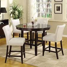 5 piece bar height dining set white counter height table round table with white chairs hd