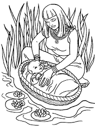 Cute Baby Moses With Mom Coloring Pages For Little Kids Homescool