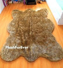 brown tip wolf faux fur rugs bearskin shape pattern modern area rug living room skin with head