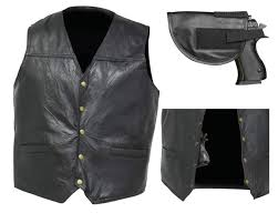concealed carry leather biker vest