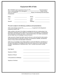 bill of sale wording template equipment bill of sale form in word and pdf