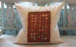 indian antique french cushions. Large Square Vintage Linen Cushion With Indian Embroidered Textile Decorated Cowrie Shells Antique French Cushions