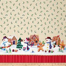 Holidays Snowman Happy Holidays Snowman Border Ivory Discount Designer Fabric