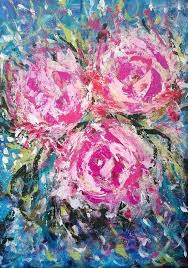 abstract flowers painting titled pink peons acrylic canvas original flower paintings tutorial