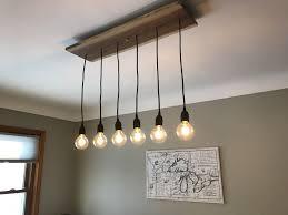 Hallow 3 Light Island Ceiling Light Wood Pendant Light Dining Chandelier With 6 Pendant Lights