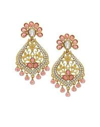 pink stone gold plated chandelier earring