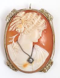 lot 21 vintage 14k white gold cameo brooch pendant