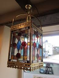 elegant victorian stained glass hanging lantern