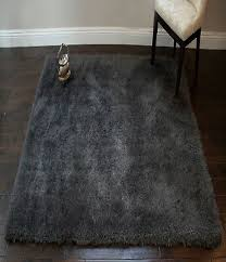 gy 5x7 dark gray area rug carpet fluffy fuzzy furry solid shimmer